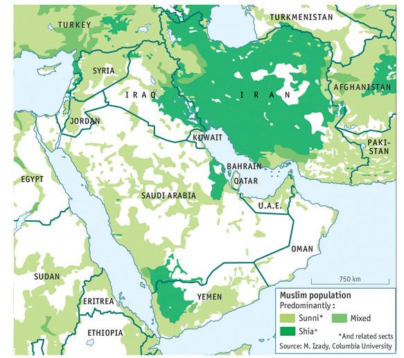 Répartition population sunnite chiite du Moyen-Orient